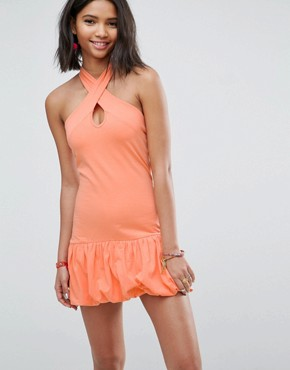 photo Mini Halterneck Bodycon Sundress with Bubble Hem by ASOS, color Peach - Image 1