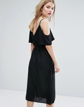 photo Tie Waist Cold Shoulder Midi Dress by New Look, color Black - Image 2