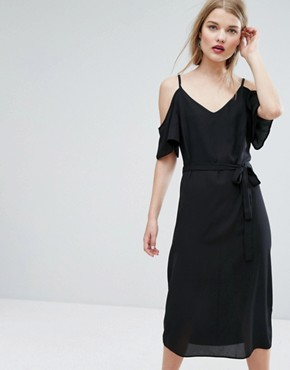photo Tie Waist Cold Shoulder Midi Dress by New Look, color Black - Image 1