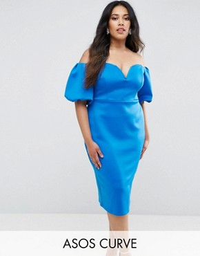 photo Scuba Puff Sleeve Bardot Midi Dress by ASOS CURVE, color Cobalt - Image 1