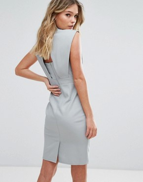 photo Pencil Midi Dress with Pleated Detail by Little Mistress, color Waterlily - Image 2