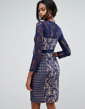 photo 3/4 Sleeve Contrast Lace Shift Dress by Little Mistress, color Navy - Image 2