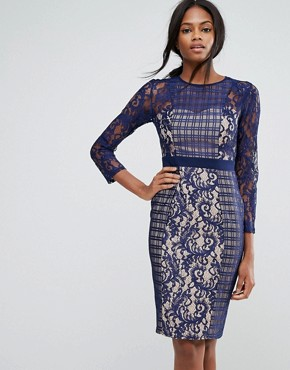 photo 3/4 Sleeve Contrast Lace Shift Dress by Little Mistress, color Navy - Image 1