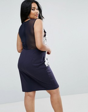 photo Bodycon Dress with 3D Applique by Club L Plus, color Navy - Image 2