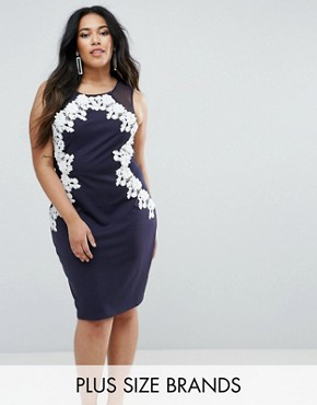 photo Bodycon Dress with 3D Applique by Club L Plus, color Navy - Image 1