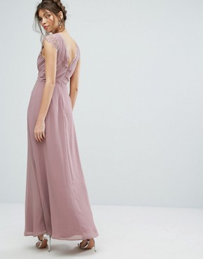 photo Maxi Dress with Eyelash Lace and Embellished Waist by Elise Ryan, color Taupe Rose - Image 2