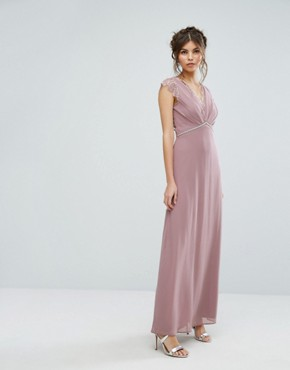 photo Maxi Dress with Eyelash Lace and Embellished Waist by Elise Ryan, color Taupe Rose - Image 1