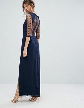 photo Maxi Dress with Polka Mesh and Eyelash Lace Upper by Elise Ryan, color Navy - Image 2