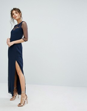 photo Maxi Dress with Polka Mesh and Eyelash Lace Upper by Elise Ryan, color Navy - Image 1