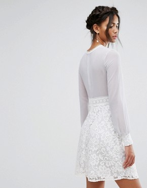 photo Long Sleeve Mini Dress with Corded Lace Skirt by Elise Ryan, color Grey/White - Image 2