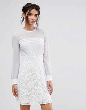 photo Long Sleeve Mini Dress with Corded Lace Skirt by Elise Ryan, color Grey/White - Image 1
