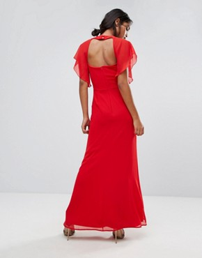 photo Embellished Trim Maxi Dress with Fluted Sleeve by Elise Ryan, color Red - Image 2