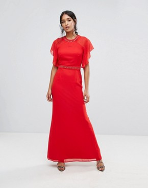 photo Embellished Trim Maxi Dress with Fluted Sleeve by Elise Ryan, color Red - Image 1