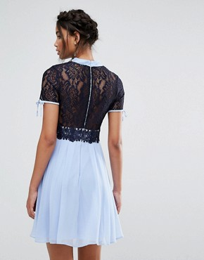 photo Skater Dress with Corded Lace Upper by Elise Ryan, color Cornflower/Navy - Image 2