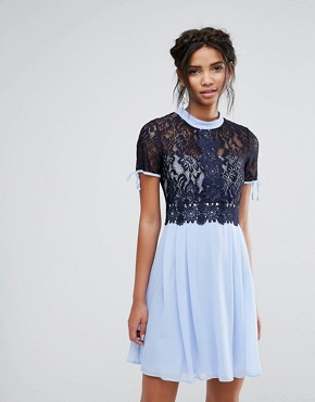 photo Skater Dress with Corded Lace Upper by Elise Ryan, color Cornflower/Navy - Image 1