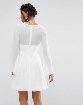 photo Skater Dress with Lace Waist by Elise Ryan, color White - Image 2