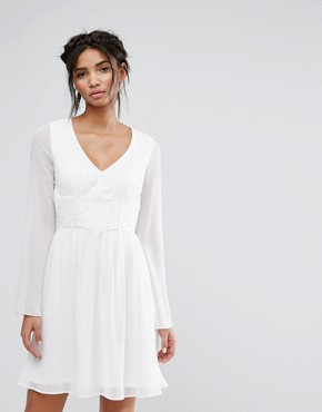 photo Skater Dress with Lace Waist by Elise Ryan, color White - Image 1