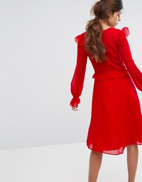 photo Midi Skater Dress with Lace Frill Trim by Elise Ryan, color Red - Image 2