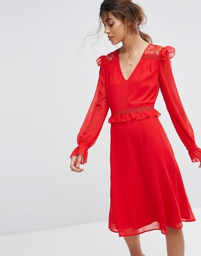photo Midi Skater Dress with Lace Frill Trim by Elise Ryan, color Red - Image 1