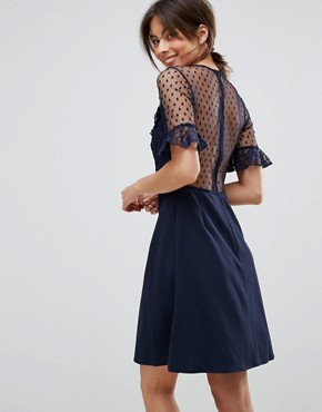 photo A-Line Mini Dress with Lace Frill & Fluted Sleeve by Elise Ryan, color Navy - Image 2