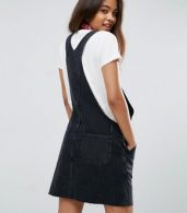 photo Denim Dungaree Dress in Washed Black by ASOS TALL, color Washed Black - Image 2