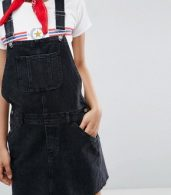 photo Denim Dungaree Dress in Washed Black by ASOS TALL, color Washed Black - Image 3