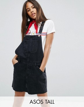 photo Denim Dungaree Dress in Washed Black by ASOS TALL, color Washed Black - Image 1
