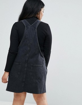 photo Denim Dungaree Dress in Washed Black by ASOS CURVE, color Washed Black - Image 2