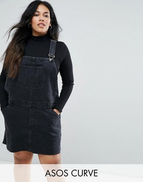 photo Denim Dungaree Dress in Washed Black by ASOS CURVE, color Washed Black - Image 1