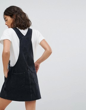 photo Denim Dungaree Dress in Washed Black by ASOS PETITE, color Washed Black - Image 2