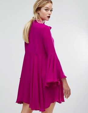 photo Fluted Sleeve Dress by Sportmax Code, color Fuchsia - Image 2