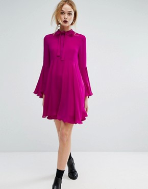 photo Fluted Sleeve Dress by Sportmax Code, color Fuchsia - Image 1
