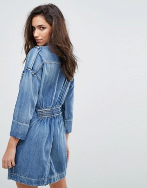 photo Military Denim Dress with Stud Detail by Replay, color Medium Blue - Image 2