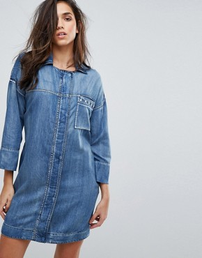 photo Military Denim Dress with Stud Detail by Replay, color Medium Blue - Image 1