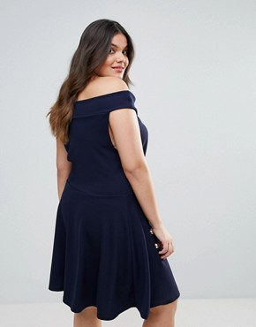 photo Bardot Crepe Button Detail Skater Dress by Club L Plus, color Navy - Image 2