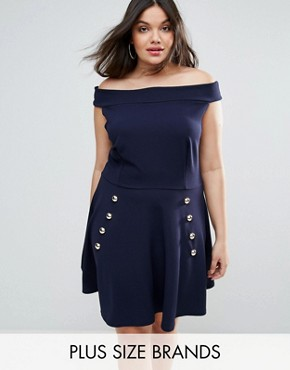 photo Bardot Crepe Button Detail Skater Dress by Club L Plus, color Navy - Image 1