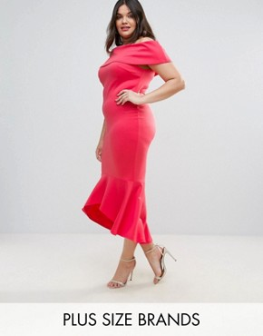 photo Bardot Peplum Hem Dress by Club L Plus, color Paradise Pink - Image 1