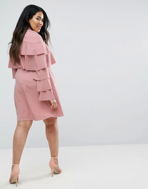 photo Ruffle Layer Detail Dress by Club L Plus, color Pink - Image 2