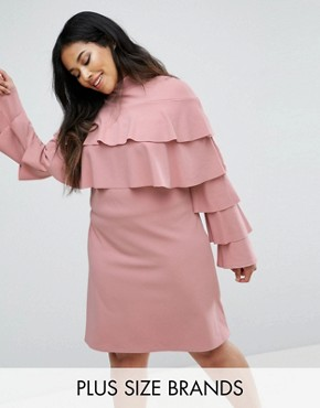 photo Ruffle Layer Detail Dress by Club L Plus, color Pink - Image 1