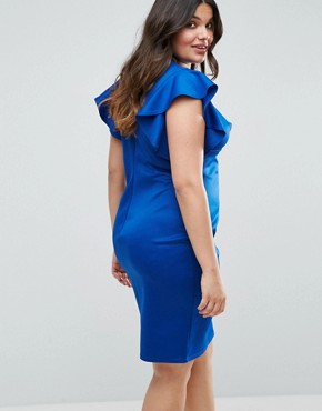 photo Ruffle V-Neck Bodycon Dress by Club L Plus, color Cobalt - Image 2