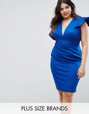 photo Ruffle V-Neck Bodycon Dress by Club L Plus, color Cobalt - Image 1