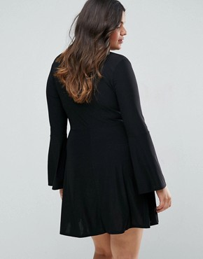 photo Slinky Rib Wrap Skater Dress by Club L Plus, color Black - Image 2
