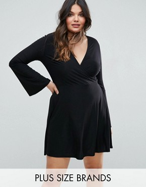 photo Slinky Rib Wrap Skater Dress by Club L Plus, color Black - Image 1