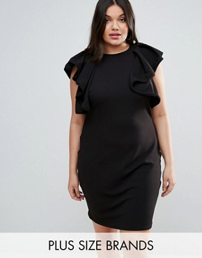 photo High Neck Ruffle Detail Dress by Club L Plus, color Black - Image 1
