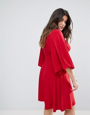 photo Flutter Sleeve Dress with Midi Skater Skirt by Club L Plus, color Red - Image 2