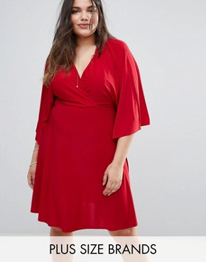photo Flutter Sleeve Dress with Midi Skater Skirt by Club L Plus, color Red - Image 1
