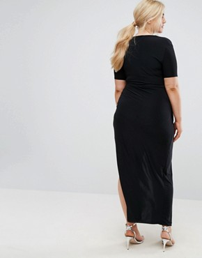 photo Slinky Wrap Front Maxi Dress by Club L Plus, color Black - Image 2