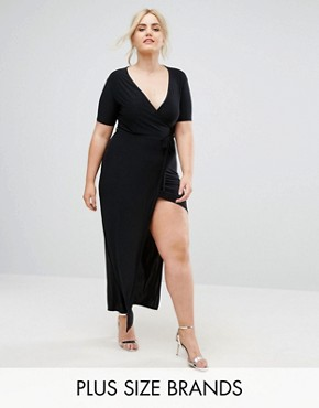 photo Slinky Wrap Front Maxi Dress by Club L Plus, color Black - Image 1