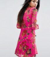 photo Pretty Floral Tea Dress with Lace Up Detail by ASOS, color Multi - Image 2