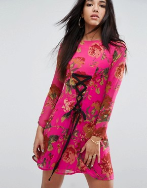 photo Pretty Floral Tea Dress with Lace Up Detail by ASOS, color Multi - Image 1